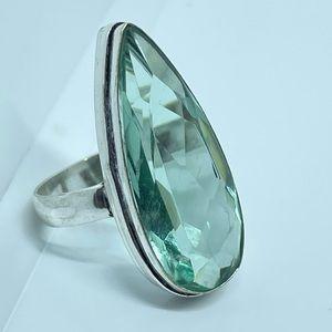 Green Amethyst 925 Sterling Silver Gemstone Ring